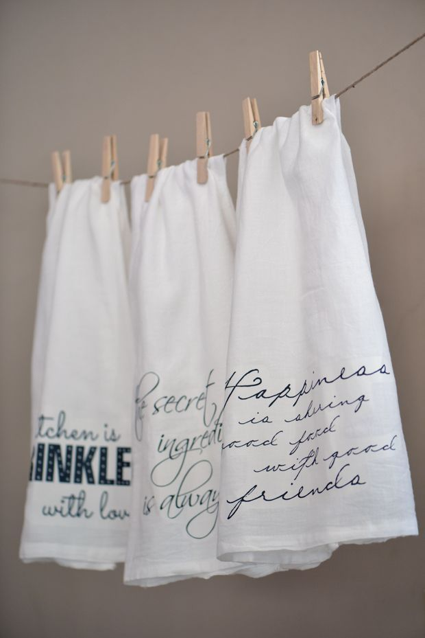 DIY Kitchen Hand Towels With Quotes