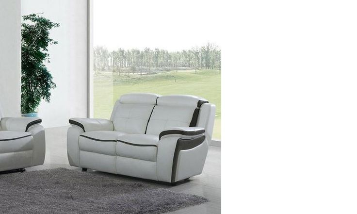 Canapé 2 places relax en cuir blanc et noir DETROIT