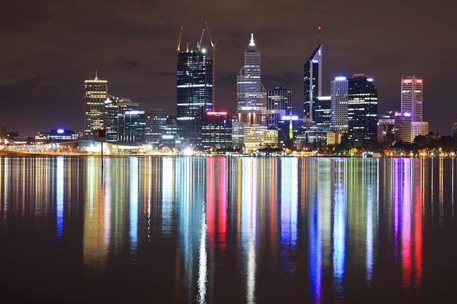 Perth city skyline from South Perth, Western Australia.
