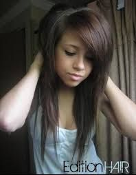 Coiffure degradee effilee cheveux long