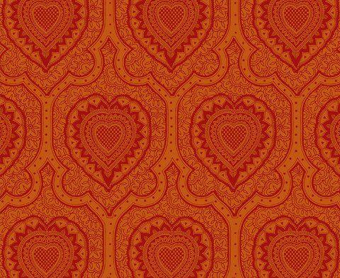 Afro Heart Damask </br> Bright Magenta on Orange