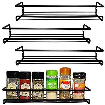 amazon com belle vous 4 pack black wall mount spice rack