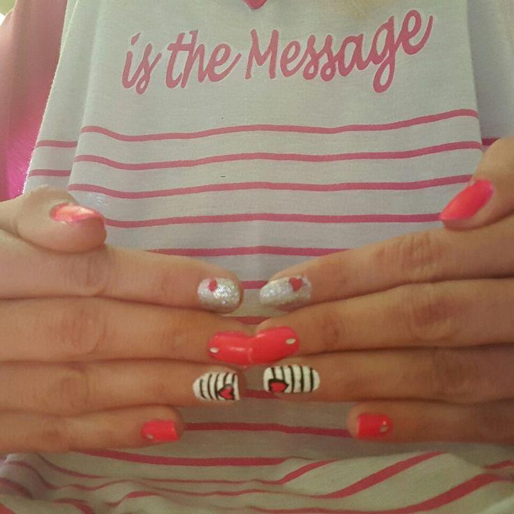 Pink Silver nail art