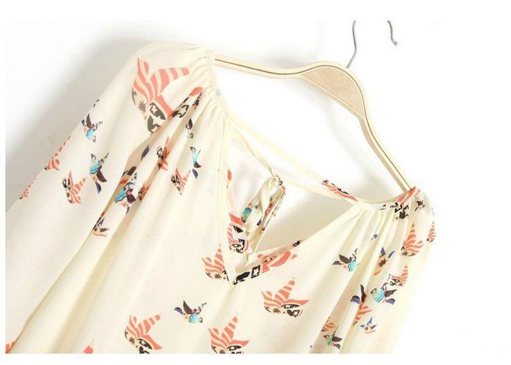 Aliexpress.com: Comprar La moda de otoño blusa de la mujer elegante pigeon imprimir con cuello en V casual retro camisetas slim fit alta calidad mujeres work wear tops WSHoo26 de ropa de esquí fiable proveedores en Bighsen Store