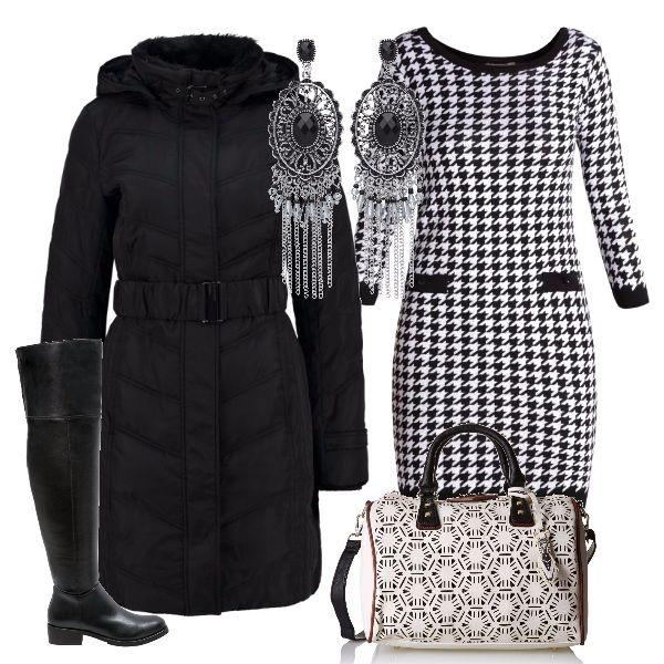 Il bianco e il nero sono i colori di questa proposta, che si compone di un vestito a manica lunga, da indossare con un paio di stivali alti al ginocchio e un caldo piumino con cintura. Completano il tutto la borsa con disegni geometrici e un paio di orecchini pendenti.