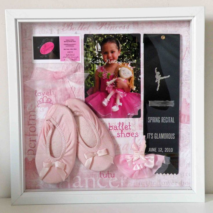 Cute way to display first dance recital memories. Might be cute to put handprint tutu as background?