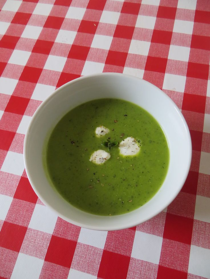 Freshly minted pea soup with goat's cheese floats - this is my favourite soup in the ENTIRE WORLD, and shelling peas is perfect de-stressing therapy, like bubble wrap-popping, but productive. Under 85 cals.