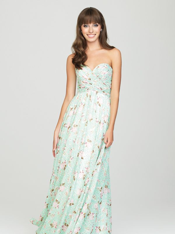 """Allure Bridesmaid Dress 1441 introduces the """"In Bloom"""" capsule collection. Subtle floral prints are perfect for mixing & matching with your bridal party!"""