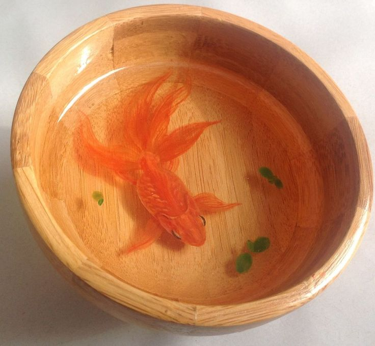 3-D Goldfish Painting in the resin and bamboo bowl | eBay