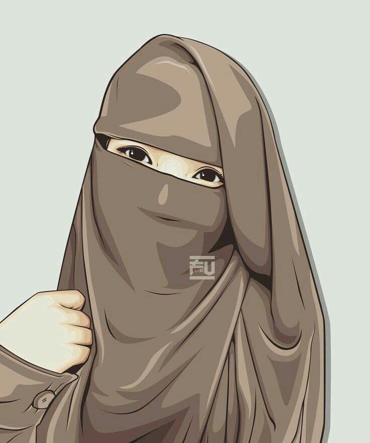 Pin Oleh Ayu Di Niqab Lovers Menggambar Gadis Gambar Kartun Kartun