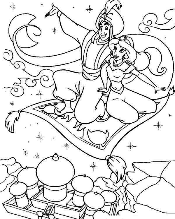 Aladdin, : Aladdin Showing Jasmine the Whole Agrabah from Above Coloring Page