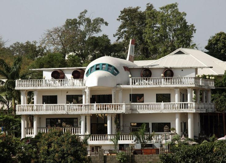 This home in Nigeria was partially designed in the shape of an airplane.