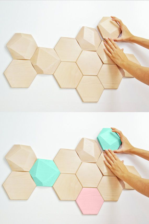 I can't believe this design and color scheme! It's so similar to my sketch from last semester. So naturally I love it! Bee Apis set of 6 facetted wood tiles for wall by MonoculoShop