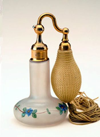 """DEVILBISS"" PERFUME BOTTLE, FROSTED GLASS WITH HAND PAINTED FLOWERS, MEASURES 5"" HIGH."