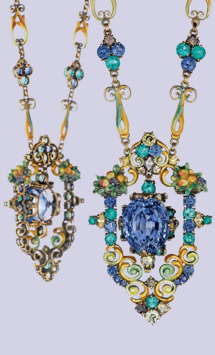 LOUIS COMFORT TIFFANY, TIFFANY & CO. - A MULTI-GEM PENDANT NECKLACE, CIRCA 1920. Suspending an articulated oval-cut sapphire pendant, with circular-cut emerald and yellow brown diamond accents, within a decorative enamel, circular-cut sapphire, emerald and colored diamond bouquet frame, also enameled at the reverse, to the neckchain and clasp of similar design, mounted in gold, signed Tiffany & Co. #LouisComfortTiffany