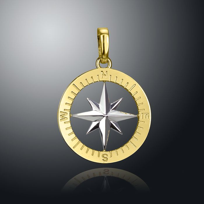 14K White and Yellow Gold Compass Rose Pendant