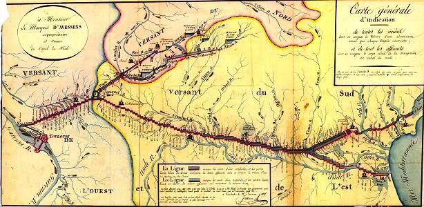 Carte schématique du Canal du Midi de Jassereu (1825) origine Archives VNF Toulouse