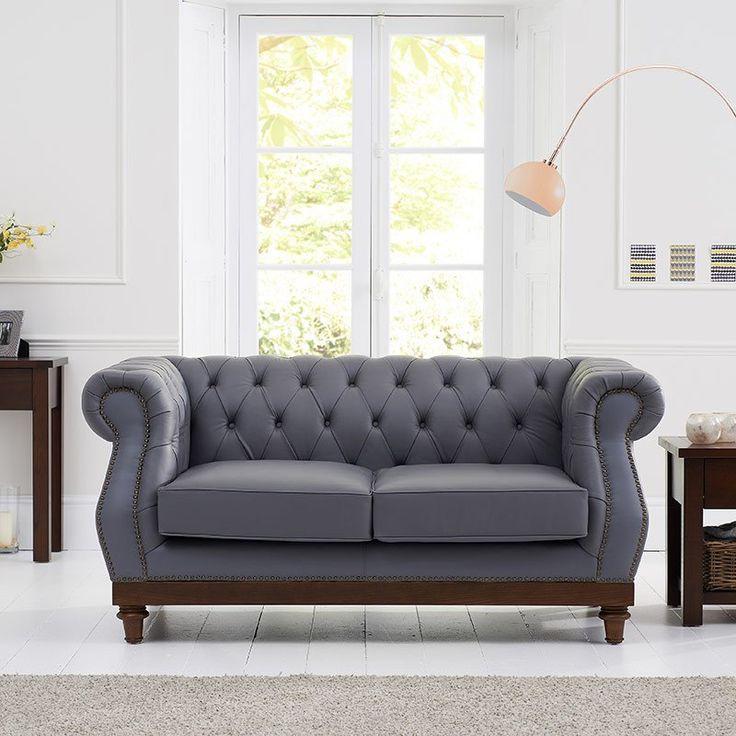 Highgrove Grey Brown Leather Sofa 2 3 Seater