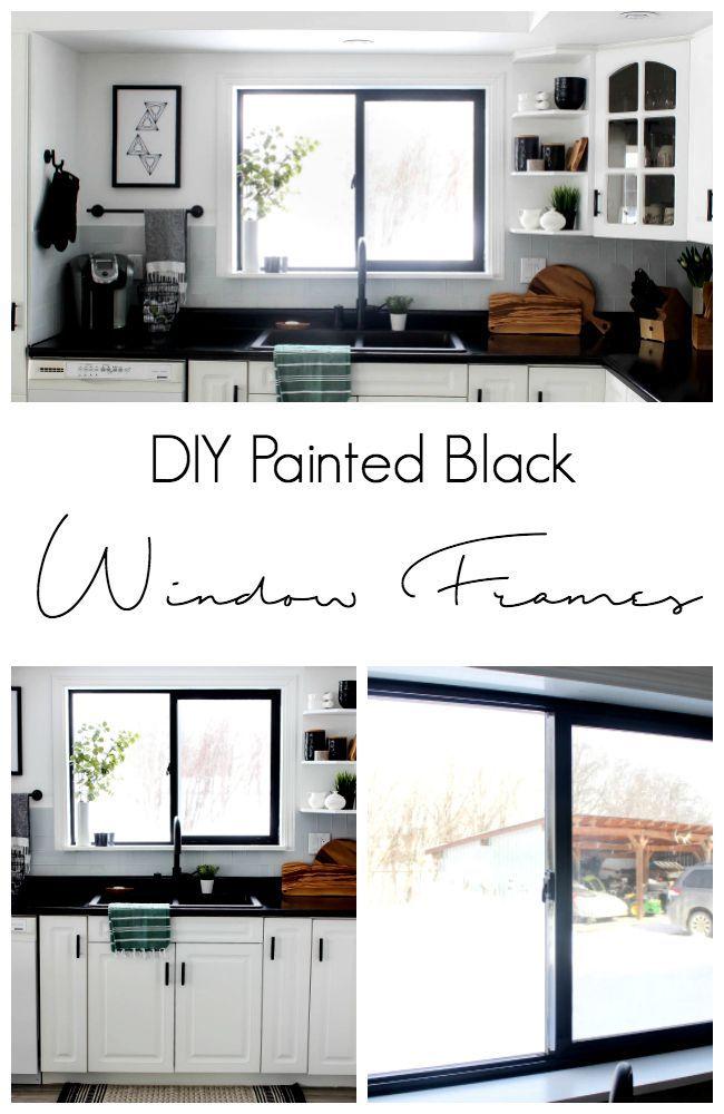 Diy Painted Black Window Frames Love Create Celebrate Black Window Frames Interior Windows Black Windows