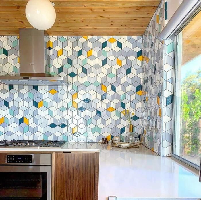 Medium Diamonds Eichler Palms Blend Ceramic Kitchen Tiles Mid Century Modern Kitchen Color Tile Backsplash