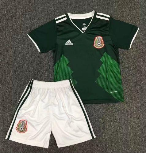 cda07212b 2018 World Cup Mexico Home Green Kid Youth Soccer Uniform