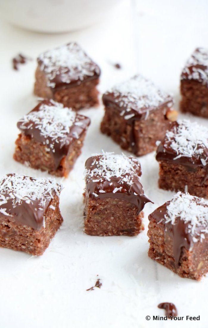 Kokos amandel bonbons met chocolade topping