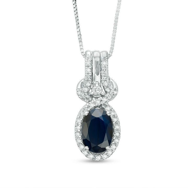 Zales Oval Blue Sapphire and Diamond Accent Twist Frame Pendant in 10K Gold oYJi9AKqUw