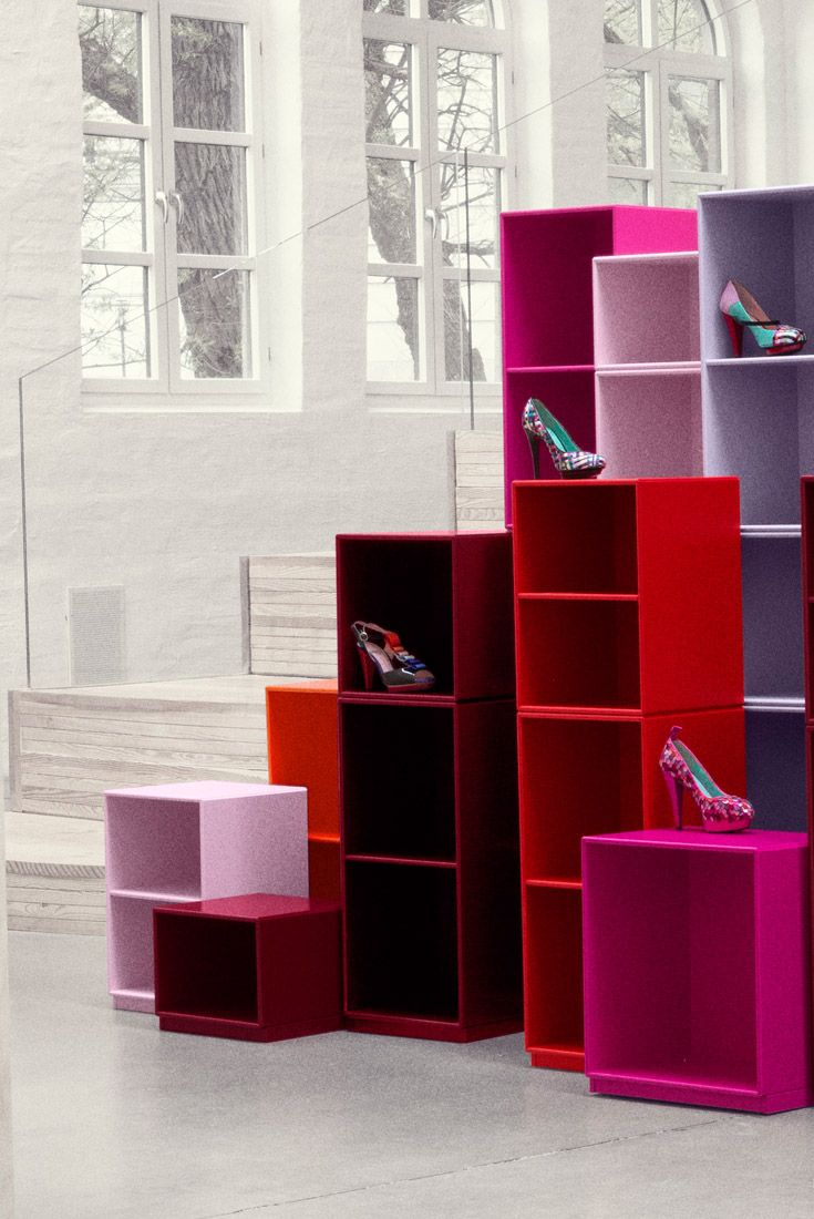 Montana in pink, red and purple  displaying Ingunn Birkeland shoes. #montana #furniture #pink #red #purple #display #storage #interior #design #danish #nordic #scandinavian