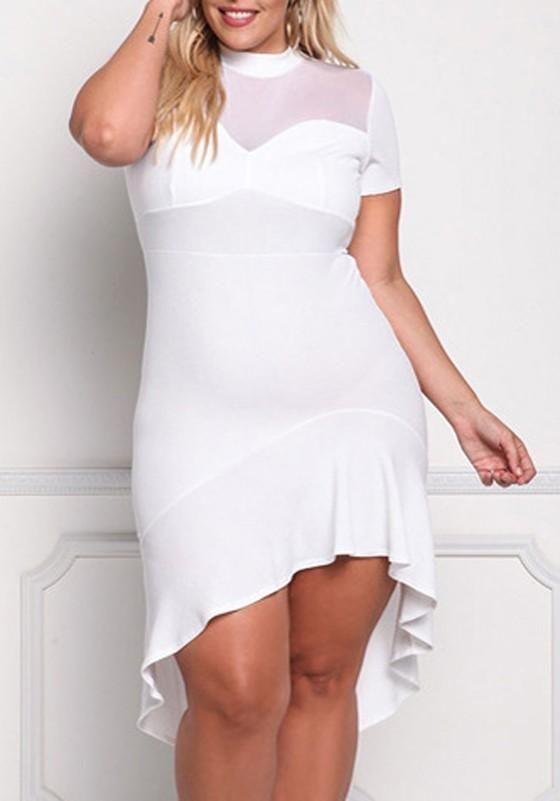 1efc152b7b99a White Draped Grenadine Cut Out Plus Size High-low Banquet Formal Midi Dress