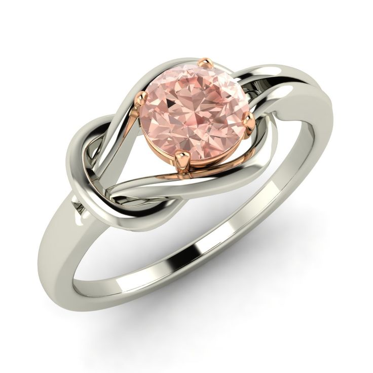 Solitaire Engagement Ring with Certified Morganite In Solid 18k White Gold - Genuine Gemstone