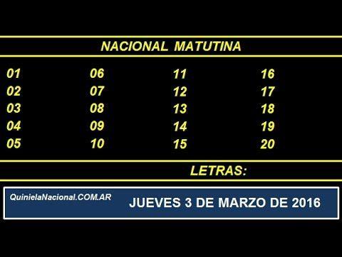 Quiniela Nacional Matutina Jueves 3 de Marzo de 2016. Fuente: http://quinielanacional.com.ar Pizarra de sorteo desarrollado en el recinto de la Loteria Nacional a las 14:00 horas.