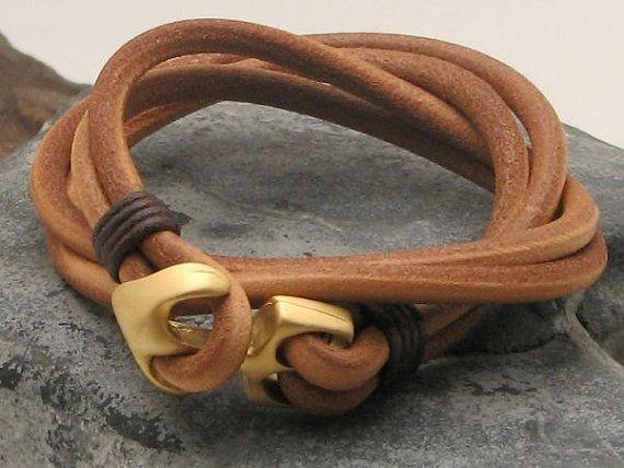 FREE SHIPPING Men's leather bracelet Tan leather by eliziatelye