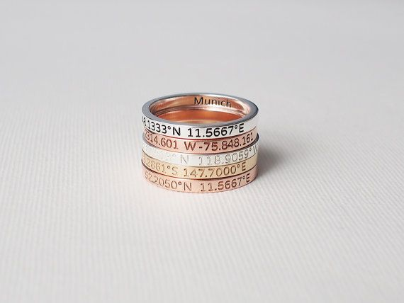 40% OFF - Coordinates Ring / Personalized Latitude Longitude Ring / Personalized Stacking Band / Location Ring - CR05