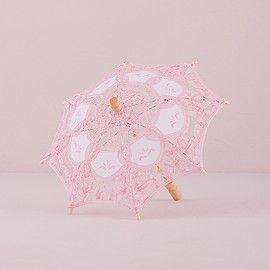 Ombrello merletto d'epoca rosa - Piccolo