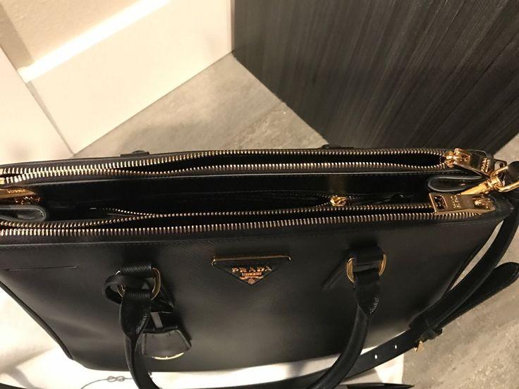 Prada Saffiano Double Zip Lux Black Nero Medium Tote Handbag $2550 Brand new ! $1599.99