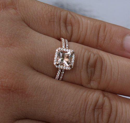 Rose Gold Morganite Engagement Ring Set Morganite Halo Ring in