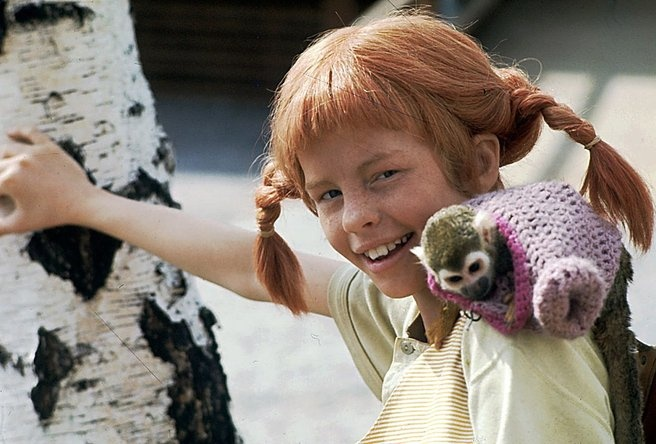 Pippi Langstrømpe and Hr. Nilsson (her pet monkey), the strongest kid, dear childhood memories. Photo.