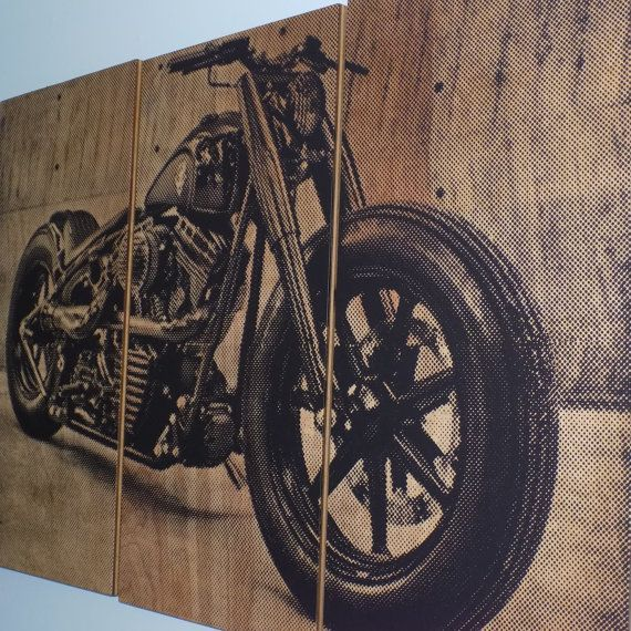 harley davidson fatboy softail motorcycle screen print wood painting wall art on stained. Black Bedroom Furniture Sets. Home Design Ideas