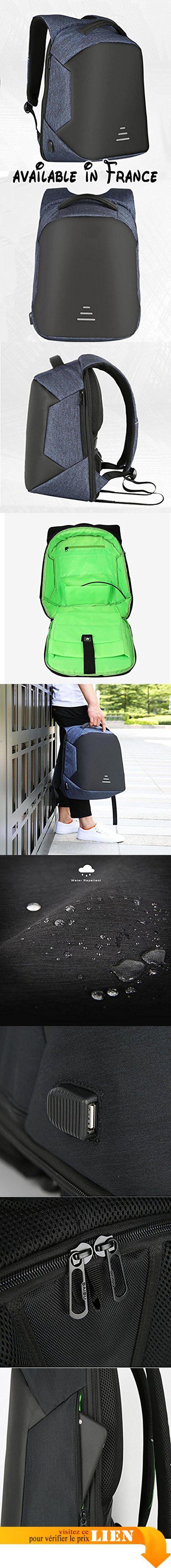"""B078XTF91L : WYXIN Sac à dos en polyester résistant à l'eau d'affaires de sac à dos d'ordinateur portable avec le port de remplissage d'USB et adapte à l'ordinateur portable et à l'ordinateur portable de 16 pouces  blue. Sac à dos à compartiments multiples: Les compartiments du sac sont faits pour vos besoins il a un compartiment principal qui garde votre ordinateur portable (jusqu'à 16 """") iPad (jusqu'à 9.7"""") téléphone livres dossier A4 et divers gadgets"""