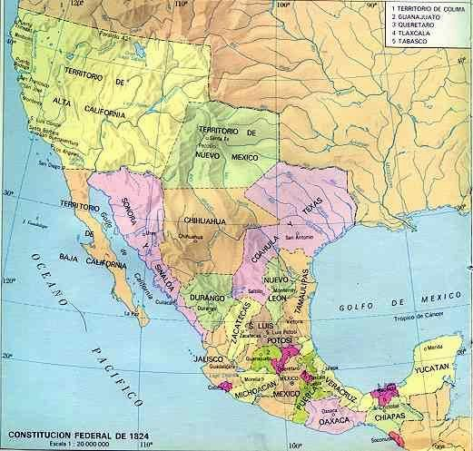 Map of Mexico in 1824