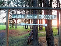 Broken Arrow Crossing sign pointing to false front town built by award-winning western author, Stephen Bly