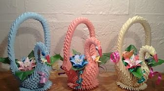 How to make 3D origami swan basket - YouTube