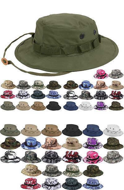 6fa404a4fb395 Mens Accessories 4250  Tactical Boonie Hat Military Camo Bucket Wide Brim  Sun Fishing Bush Booney