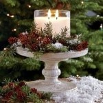 Love this simple candle placed on a cake stand with fresh greenery and pine cones!  I'll bet it's vanilla scented! :)