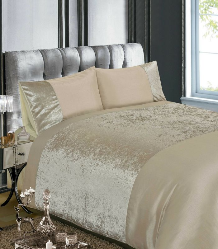 Velvet Natural Duvet Cover  This Velvet Duvet Cover is part of our Glitz & Sparkles collection, It will add glamour to any bedroom.This design comes in a Natural & Grey colour.  Single 135cm x 200cm (1 pillowcase 50cm x 75cm) Double 200cm x 200cm (2 pillowcases 50cm x 75cm) Kingsize 220cm x 230cm (2 pillowcases 50cm x 75cm) Superking 260cm x 220cm (2 pillowcases 50cm x 75cm)  Face 100% Polyester, Reverse 50% Polyester 50% Cotton Machine Washable