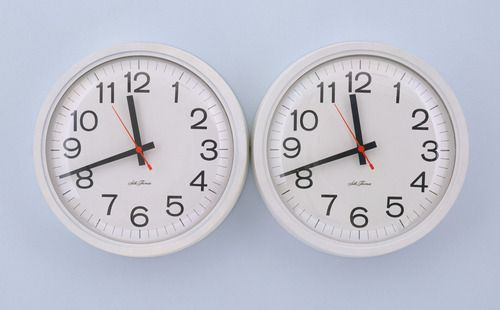 "Felix Gonzalez-Torres, ""Untitled (Perfect Lovers)"", 1991.    The two battery-operated clocks are to be set in unison, but they will eventually, inevitably fall out of sync with one another. The clocks' continued ticking serves as a metaphor for both the eternalness of love and the impossibility of such a thing. The lovers might measure their lives in the same manner, but the tricks of time will unbalance them."