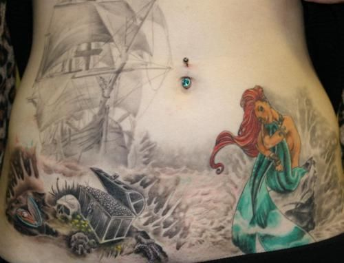 The little mermaid tattoo. I like this but maybe beauty and the