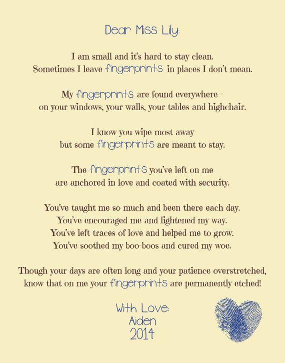 """Custom """"fingerprints"""" poem printable, download, babysitter ..."""