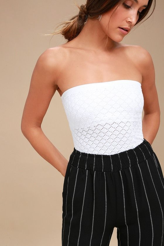 5a8f452692 The Free People Honey White Textured Tube Top is as sweet as honey! Super  stretchy knit shapes this semi-sheer tube top with diamond pattern cutouts  ...