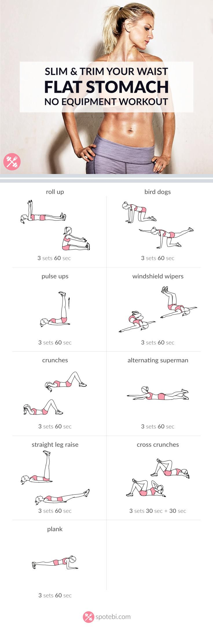 Flat Stomach ab workout with no equipment. Each execise 60 sec & 60 sec rest, 3x, total 30 min